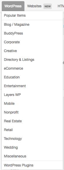 seleção tema WordPress